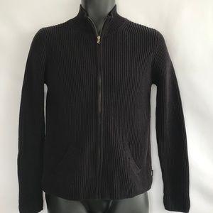 Ralph Lauren Black Ribbed Zip Up Sweater